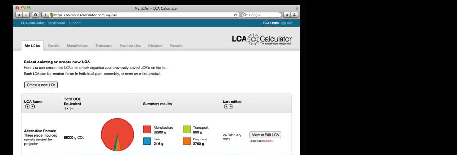 LCA Calculator - Online Sustainable Design Software
